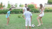 chutando : Parents and kids kicking the soccer ball on the countryside lawn Stock Footage