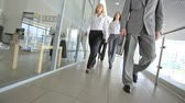corporation : Group of business workers walking past empty offices Stock Footage