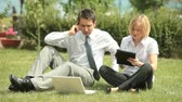 chefe : Young team doing business sitting on the lawn somewhere in countryside