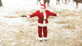 weihnachten : Santa Claus performing modern Christmas dance for his deer Stock Footage