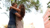 querido : Girl and guy hugging expressing their joy of meeting after a while