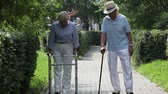 cana : Disabled patients of a nursing-home taking a walk together