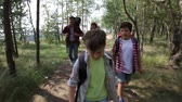 desportivo : Dynamic video of hiking family following the path in the woods Stock Footage