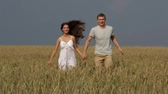 через : Happy rural couple running across the field holding hands