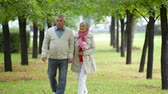 buquê : Senior husband and wife having a romantic date in the park Stock Footage