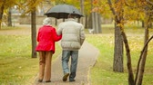 женат : Couple of retirees sharing an umbrella while walking along the park lane