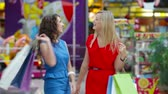 consumismo : Glamorous ladies enjoying their shopping day Stock Footage