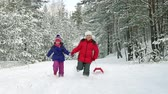 irmã : Slow-motion of cheerful children running through the snowy forest with sleds