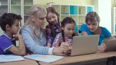 akademický : Class enjoying computer studies