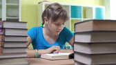 campus : Close up of girl studying books Stock Footage