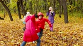 setembro : Four little friends playing tag in the forest Stock Footage