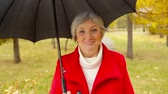 novembro : Waist up shot of senior lady walking in park with umbrella and looking straight into camera smiling