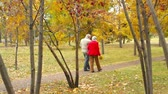 novembro : Senior couple on a walk through the autumnal park