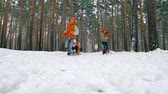 únor : Youngsters pulling sledges with their friends in them in slow motion Dostupné videozáznamy