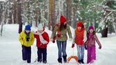 únor : Group of five youngsters approaching camera walking in the winter park