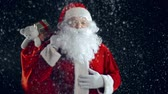 snowfall : Santa Claus standing with sackful of gifts in snow shower and stroking his white beard Stock Footage