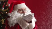 магия : Santa Claus blowing glitter from his palms scattering it all around