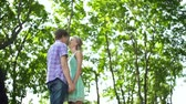 романтический : Low angle view of sweet couple having fun in park