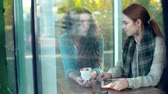 cheerful : Through the window of cafe shot of two friends chatting Stock Footage