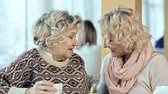 parente : Close up of two women talking in cafeteria Stock Footage