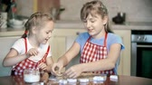 avental : Close up of two little confectioners having fun making ginger cookies Stock Footage