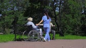 zdravotní sestra : Young nurse introducing woman in wheelchair to man with stick Dostupné videozáznamy