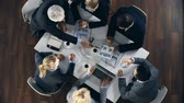 diagram : Direct from above view of business team on a meeting Stock Footage