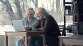 беспроводной : Close up of technologically advanced pensioners sitting in cafe and using laptop