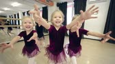 despreocupado : Five little ballerinas approaching camera trying to catch it