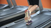 ginásio : Low section of unrecognizable woman exercising on treadmill