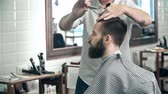 emprego : Over shoulder view of trendy guy having his hair trimmed by unidentified barber