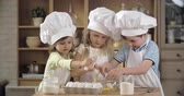 farinha : Team of charming little cooks cracking eggs into bowl Stock Footage