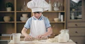 farinha : Kid wearing chef hat and apron rolling dough into circle in domestic kitchen