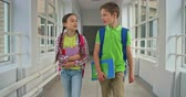 criança : Lovely schoolboy and schoolgirl chatting while walking down hallway