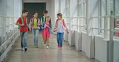 passagem : School friends approaching camera while walking along corridor and talking