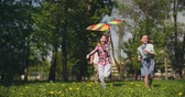 wind : Three happy little friends flying a kite in park Stock Footage