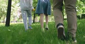 chůze : Tilt down of carefree children walking on green grass Dostupné videozáznamy