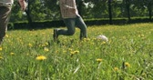нога : Low section of kids playing soccer on dandelion meadow