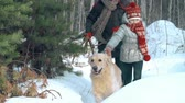 pontapé : Dad with daughter and their dog running through snow drifts in slow motion