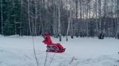 tepe : Excited little girl on a sled sliding down a snow hill in slow motion Stok Video