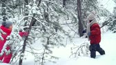 oynamak : Joyful children running to small fir tree, shaking it and enjoying snow fall Stok Video