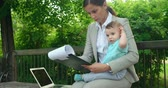report : Female manager sitting on a bench with her baby son on her lap and preparing a business report Stock Footage