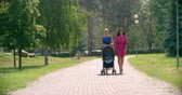 сын : Young mother walking in park with her baby son in a stroller and a friend