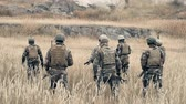 militar : Rear view of ranger team walking through a field in slow motion Vídeos