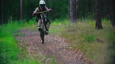 dostihy : Rider back wheeling on his downhill bike down a forest trail