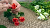 Валентин : Hands of florist preparing rose flowers for making a composition