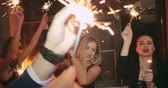 fajerwerki : Beautiful friends are celebrating New Year together in night club