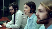 operador : Professional staff working at a call center Stock Footage