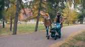 pram : Mother and father walking together with little son in autumn park: dad pushing baby stroller and mom telling him something Stock Footage