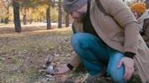 cauda : Man feeding little adorable squirrel in the park while his wife and son looking at them and smiling Vídeos